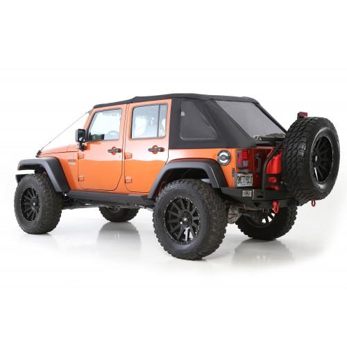 Софт-топ безкаркасный, черный с тонированными окнами Smittybilt  Jeep Wrangler Unlimited JK 4 Door.